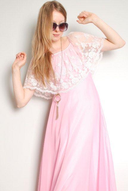 vintage 70s dress pink lace ruffle romantic hippie victorian maxi dress XS