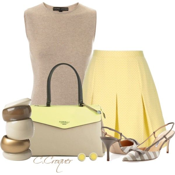 Minimal Pastel Summer Set by ccroquer on Polyvore featuring Ralph Lauren, Manolo Blahnik, Fiorelli, MARC BY MARC JACOBS and House of Fraser