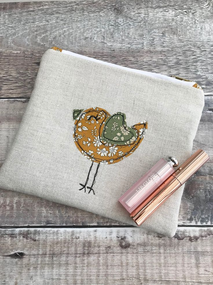 Something new for me, free-motion embroidery with lovely Liberty fabrics, new pouch in my #etsy shop!