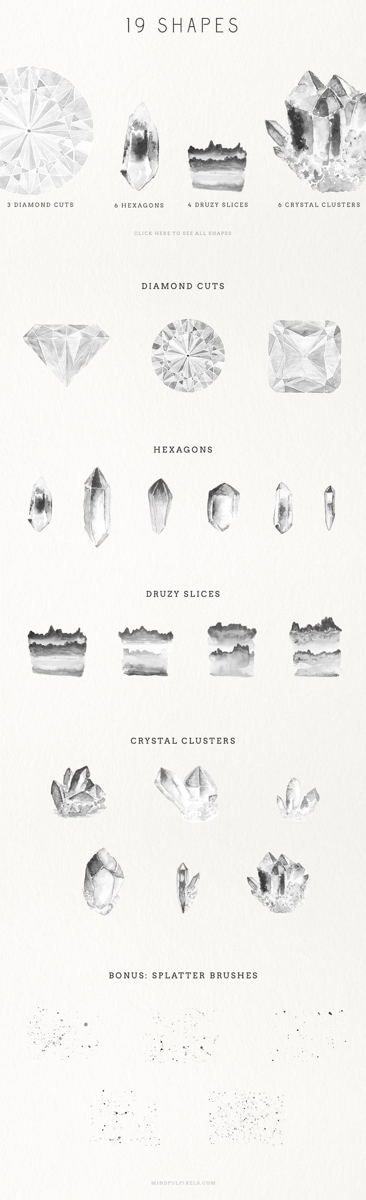 Watercolour Gem Creator Kit by Mindful Pixels on Creative Market