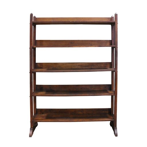 Mission-style five-shelf bookcase is perfect for a small space. Solid oak  construction with a touch of detail in the