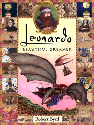 Illustrations and text portray the life of Leonardo da Vinci, who gained fame as an artist through such works as the Mona Lisa, and as a scientist by studying various subjects including human anatomy and flight.