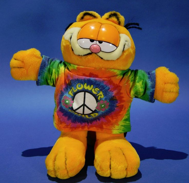 Vintage Garfield Cat with Flower Child T-Shirt 1978 Paws Plush Stuffed Animal in Collectibles, Animation Art & Characters, Animation Characters | eBay