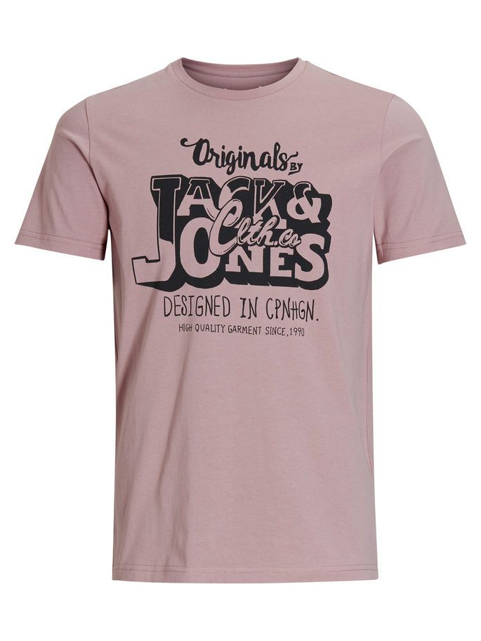 Casual slim fit printed tee with graphic print on the chest in mauve | JACK & JONES