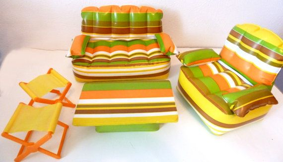 1970's inflatable Barbie furniture-had this set and used the folding chairs in the camper!