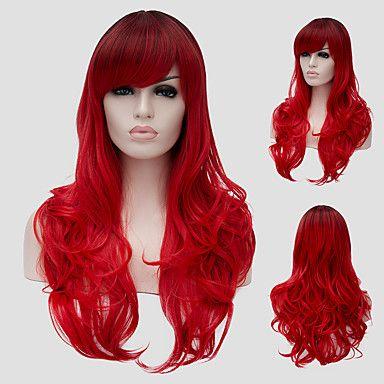 שיער+גלי+אדום+צבע+ברחוב+הופעות+במועדון+הרוח+מיליון+עם+פאה+חלקית.+–+ILS+₪+48.09