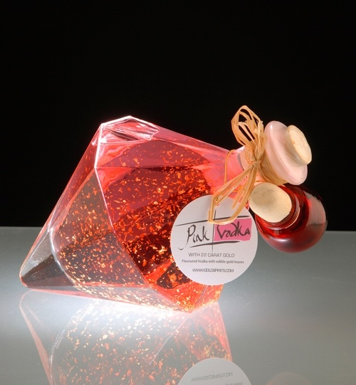 Pink Vodka with 22 carat gold ... in diamond shaped bottle--available soon...no price listed!