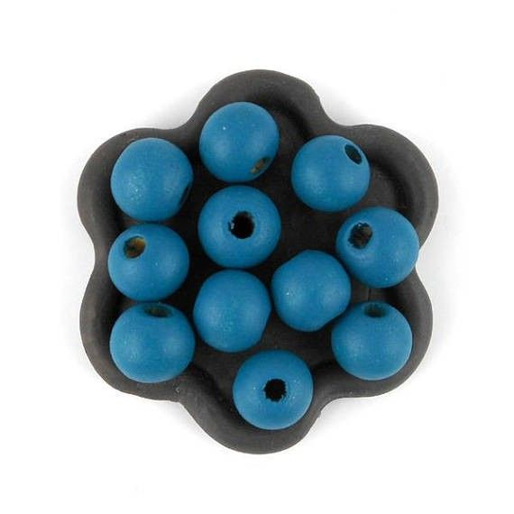 x50 Perle en bois bleu canard  10mm (42C)