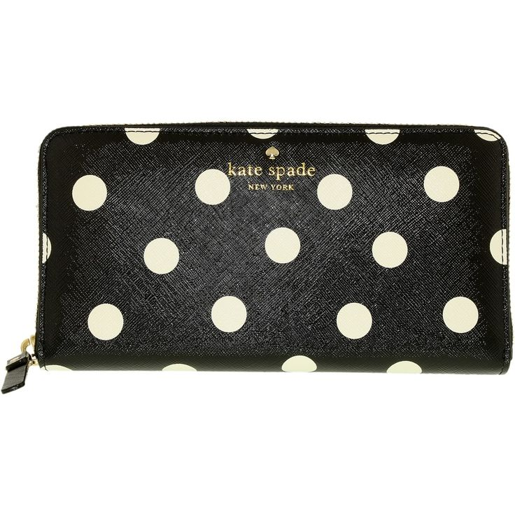 Dimensions: 7.75'W x 4'H x .94'D     Fashion Trend: Wallet Leather Baguette     Zipper Closure     Black/Clotted Cream (Multicoloured)   What could be better than having the perfect wallet to go with the perfect bag! With thousands of wallet options available for ladies, how is one to choose Take a close look at the Kate Spade women's wallet. The fabulous leather is flattering for almost any personality. With 19 pockets, a woman can rest assured that she will have plenty of ro..