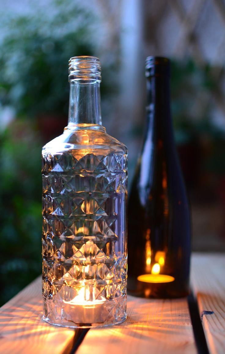 upcycling selbstgemachtes windlicht aus einer alten glasflasche malen glas schneiden und. Black Bedroom Furniture Sets. Home Design Ideas