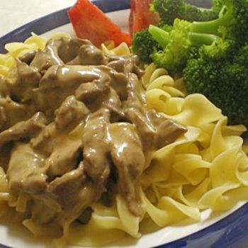 1 1/2 lb. round steak 1/3 c. flour 1 tsp. salt 1 onion sliced 1/2 lb. sliced mushrooms 1/2 c. butter 1 can cream of mushroom soup (or cream of chicken) 1 c. milk (or 1 can beef broth) 1 c. sour cream 1/4 c. Worcestershire sauce