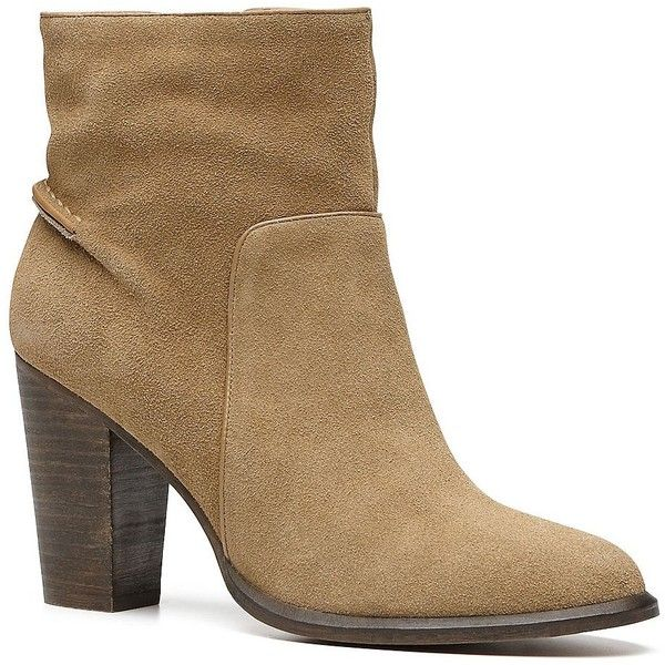 Witchery Addison Boot ($75) ❤ liked on Polyvore featuring shoes, boots, camel, high heeled footwear, round toe boots, round toe shoes, colorblock shoes and camel boots