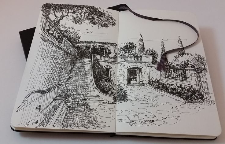 sketch for a project, a view from the courtyard,