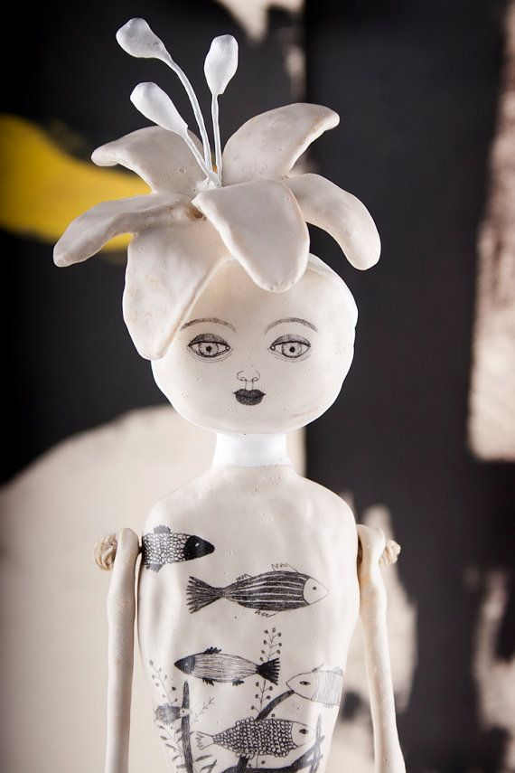 SALE Art Doll Air Dry Clay Art Object Dolls di DoubleFoxStudio, $530.00