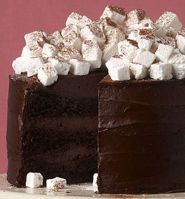 Hot Chocolate Layer Cake with Marshmallows. chocolate marshmallow cake food desserts