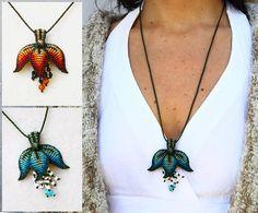 Macramé flower necklace with amethyst beads. Artistic by EleguaArt