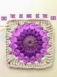 """lo spazio di lilla: Piastrellina crochet """"Raggio di sole"""",schema e punti / Sunburst granny square chart and stitches"""