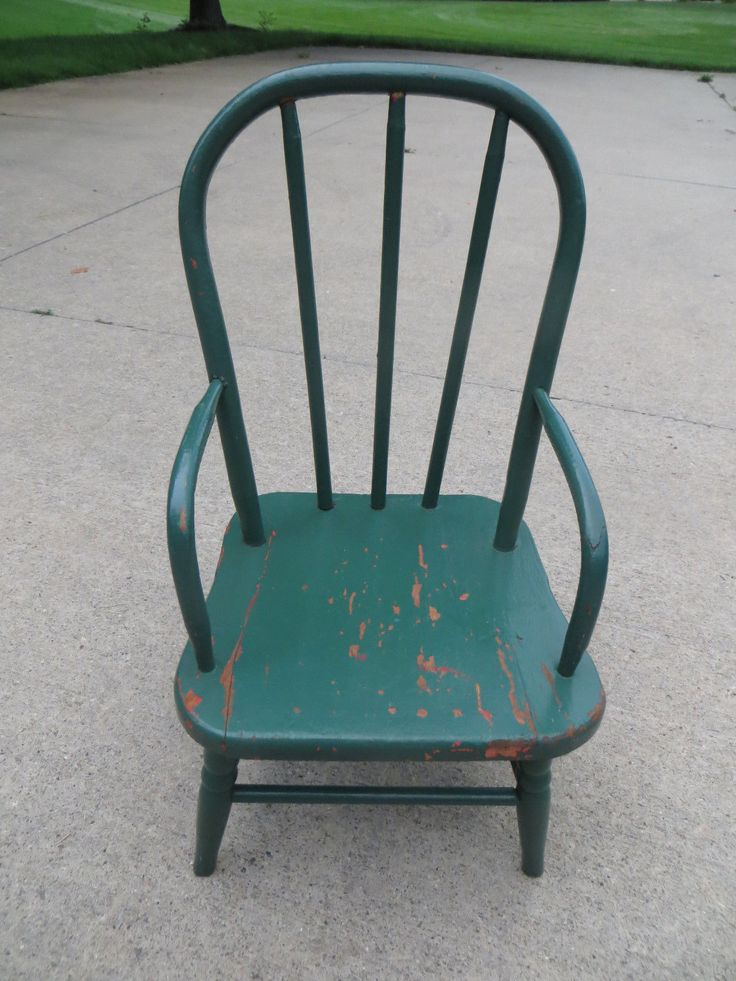 vintage child 39 s doll toy arm spindle chair green paint ebay sit awhile pinterest doll. Black Bedroom Furniture Sets. Home Design Ideas
