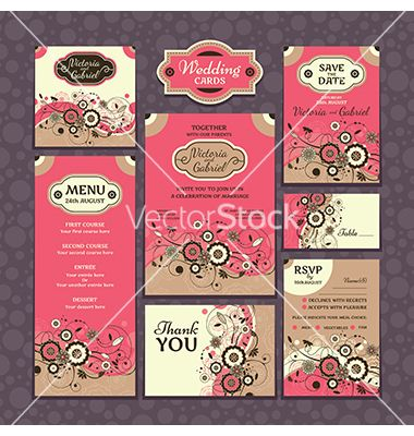 Floral wedding cards vector - by SelenaMay on VectorStock®