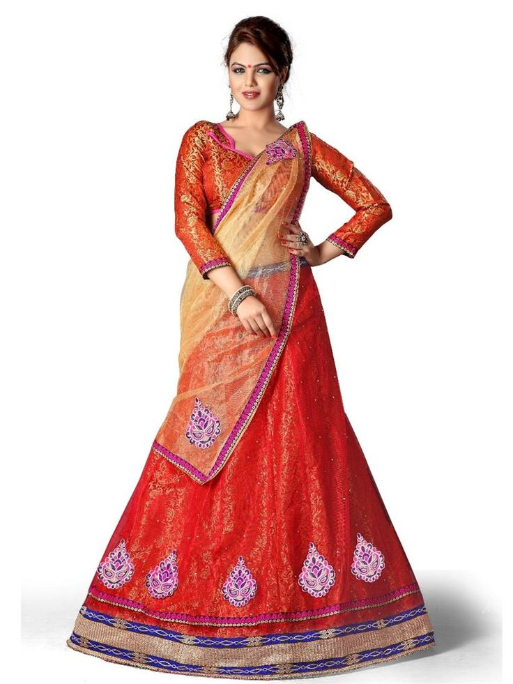 Ashika designer Red color with nett, brocade, nett, brocade fabric Lehenga choli