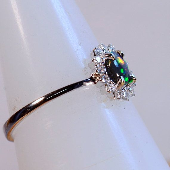 Solid 18ct White Gold Ring Solid Australian Black Opal by justopal