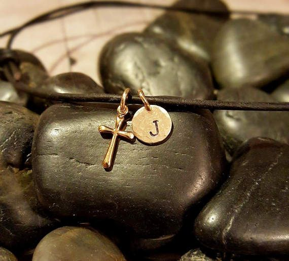 BOYS GOLD CROSS First Communion Necklace Boys by TinyTreeTreasures
