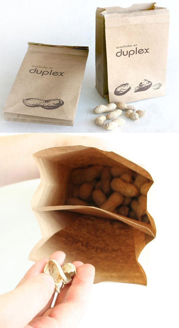 This incredibly simple peanut bag with peanut shell receptacle. | 31 Mind-Blowing Examples of Brilliant Packaging Design