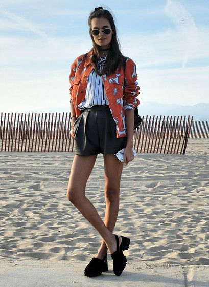 Gizele Oliveira - American Apparel Top, Joy Rich Jacket, H&M Shorts, Yru Shoes - Stripes and tools