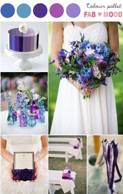 Kleuren op de bruiloft: paars en blauw