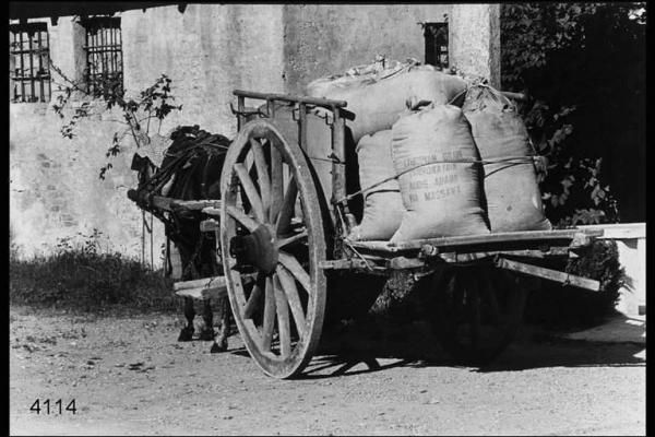 Carretto  trainato da un mulo carico di sacchi di farina davanti al  mulino.