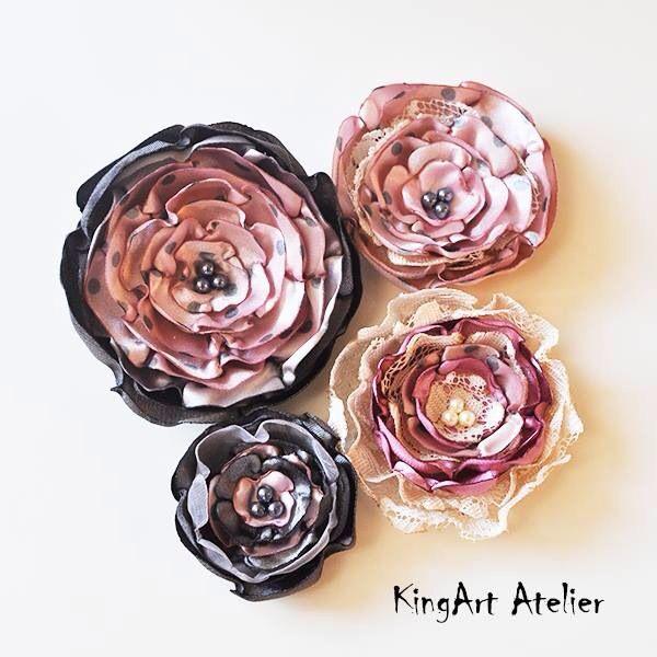 Vintage satin handmade flowers by KingArt Atelier