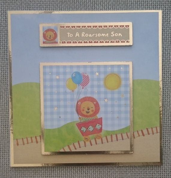 Handmade 5 x 5 Square Greeting Card  Son by BavsCrafts on Etsy