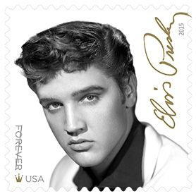 """With this stamp in the Music Icons series, the U.S. Postal Service® honors Elvis Presley (1935-1977), the singer, guitarist, musician, and actor who became one of the first true stars of rock-and-roll.  This stamp features a 1955 black-and-white photograph of Presley taken by William Speer. In the bottom left corner, between the words """"Forever"""" and """"USA"""", is a small gold crown, a nod to Presley's nickname, The King of Rock and Roll™."""