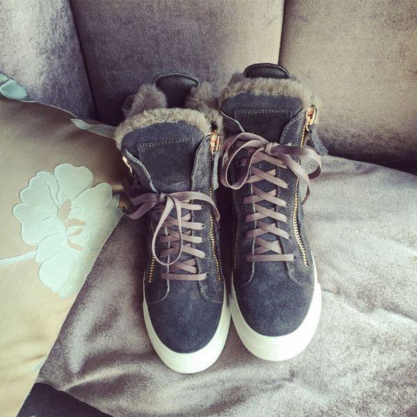 Зима новый овчины шерсть один в трубки плюс толстый снег сапоги женские сапоги круглый носок снегоступы кожаные ботинки хлопка обувь