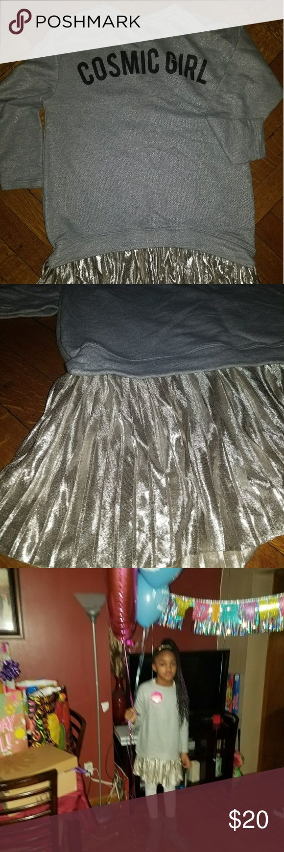 """Zara Girls Dress (Still In stores) Sz9/10 GIRLS Sweater Shimmer Dress, Worn for just a few hours 1st pic is the Back of the dress """"COSMIC GIRL""""...  Last pic is the Front. No stains/holes or odors. Pet & smoke free home. Zara Dresses"""