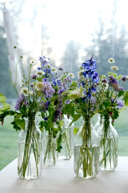 wild flowers in large bottles