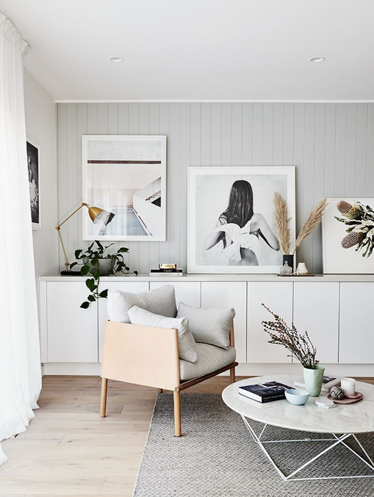 White And Grey Sitting Room With Wood Cladding In A Scandi Inspired Family Home In A 1950 S Bungalow Scandinavian Style Home Living Room Grey Living Room Decor