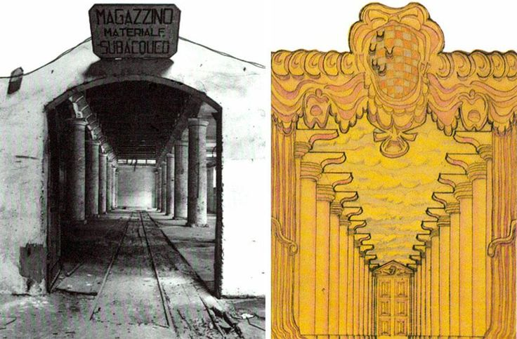 Domus 605 / April 1980 page details. 1st International Architecture Exhibition, The Presence of the Past. Left, the Arsenale's Corderie before renovation; right, a drawing by Stanley Tigerman