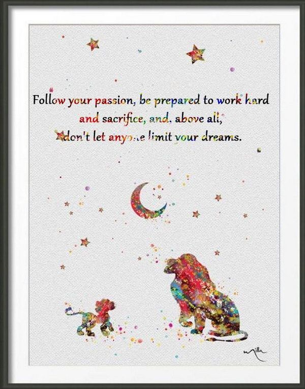 Be Passionate about Dreams. Follow your passion, be prepared to work hard and sacrifice, and, above all, don't let anyone limit your dreams. Be a passionate person to make full preparations for life and turn your dream into reality.