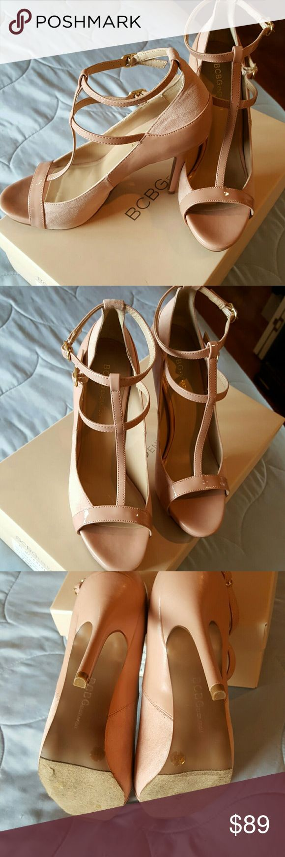 Ballerina blush jacquelin BCBG strappy heels 7.5 Used once for new years...these are simply gorgeous!! Strappy..5 inch heel..by BCBG generation .  A neutral color that makes a statement. Leather and suede..color is ballerina blush..pink hue with cream..see pix.. BCBGeneration Shoes Heels