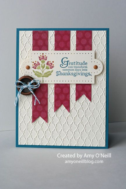 handmade Thanksgiving card ... design for Paper Players Sketch Challenge #114 ... Day of Gratitude sentiment ... like the design element stamped with several colors applied to stamp ... luxurious background texture from embossing folder ... luv it!! ... Stampin' Up!