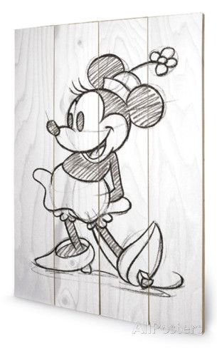 Minnie Mouse Sketched - Single Wood Sign Holzschild bei AllPosters.de