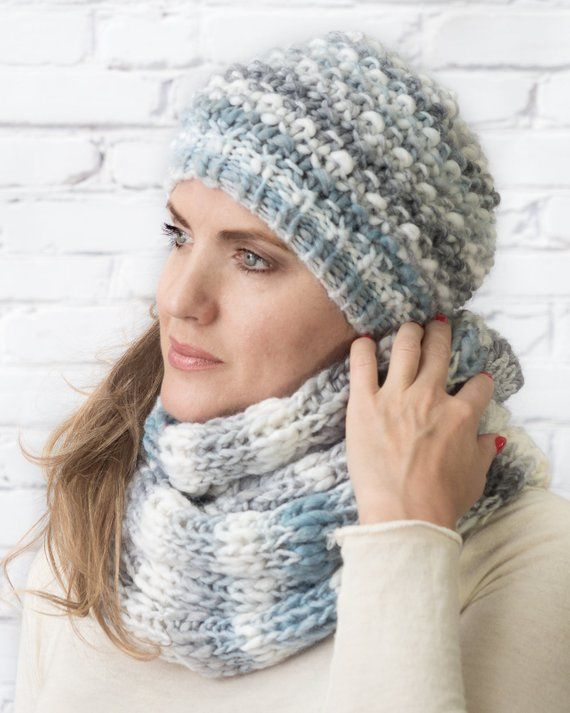 155db2b2f8c Hat scarf set Chunky knit infinity scarf and knit hat for
