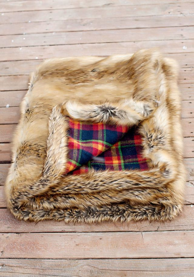 Fabulous Furs Red Plaid & Gold Fox Faux Fur Throw Blanket