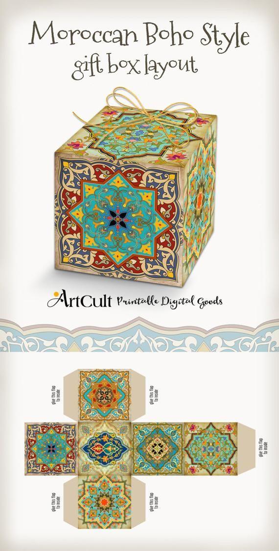 Imprimible digital marroquí estilo BOHO caja de regalo, hágalo usted mismo boda cuadro de collage, descarga instantánea. ArtCult diseña