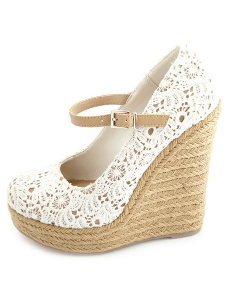 Crocheted Lace Mary Jane Espadrille Wedges... Wanelo.com/app