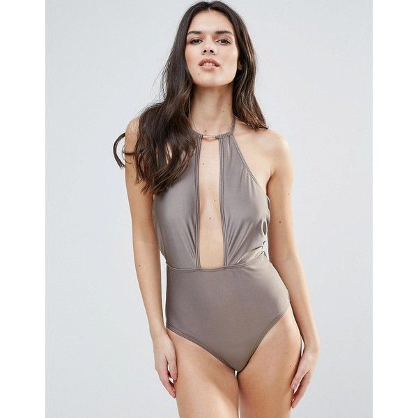 Playful Promises Cut Away Swimsuit with Hardware ($39) ❤ liked on Polyvore featuring swimwear, one-piece swimsuits, grey, swim wear, tall one piece swimsuit, swimsuit swimwear, swimming costume and one piece swimsuit