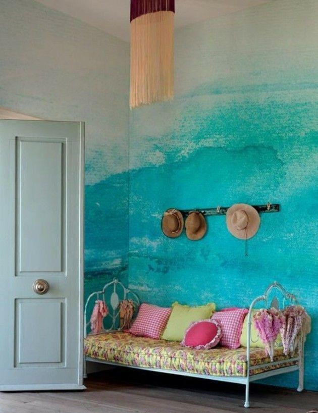 Mur blue en aquarelle pour une chambre originale