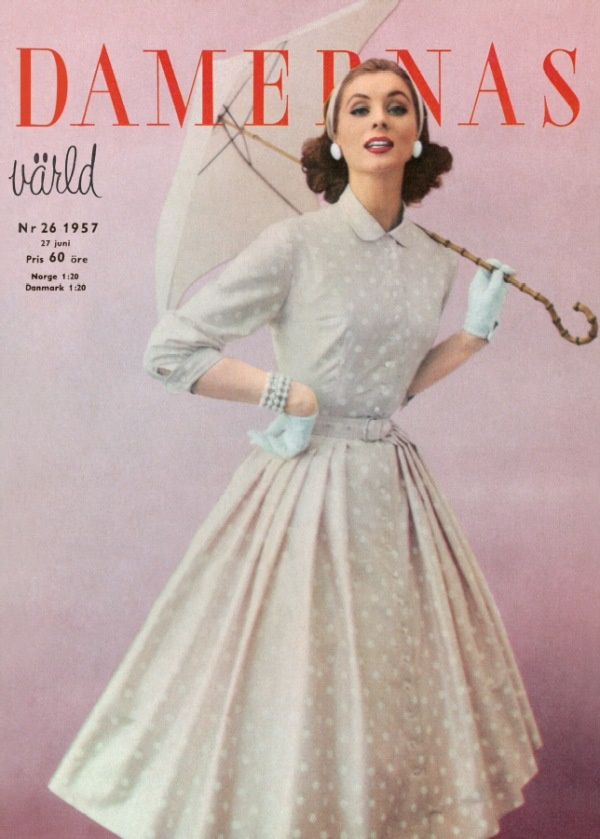 50's fashion, fashion magazine, Damernas Värld, retro, vintage, vintage poster, poster, umbrella, dress, 50's dress, 50's style. More vintage fashion: http://damernasvarld.se/arkivet/