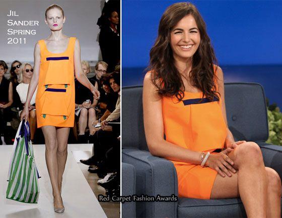 "Camilla Belle in Jil Sander neon orange Spring 2011 sleeveless dress on Conan to promote new movie, ""From Prada to Nada."""